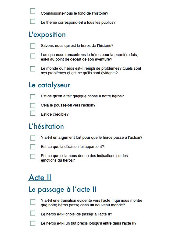 La checklist du scénariste